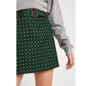 Urban Outfitters Green Peggy Belted Mini Skirt